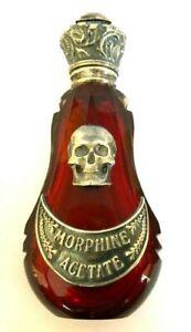 Antique-19th-C-one-red-Crystal-BOTTLE-Edwardian-Skull-Medicine-Poison-Silver
