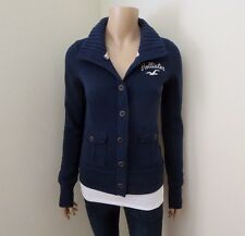NWT Hollister Womens Button Up Fleece Jacket Size Small Sweater Turtleneck Navy
