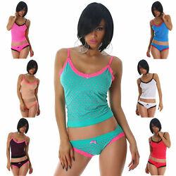 Dessous Set Hemdchen & Slip Wäsche Underwear Damen Shorty Lingerie Herzen Größe