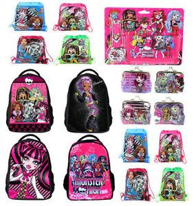 U-Monster-High-Girl-Kids-Backpack-School-Bag-Drawstring-Coin-Wallet-Watch-Gift