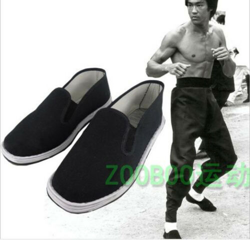 New Chinese Martial Art Kung Fu Ninja Shoes Slip On RUBBER Sole Canvas Slippers