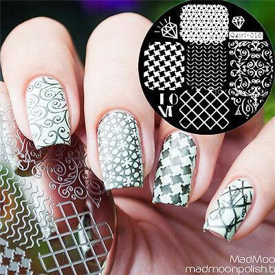 1x Nail Art Nagel Stamping Schablonen Stempel Template Stamp Platte #Qgirl-010