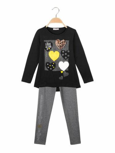 Maglia girocollo leggings con strass completo 2 pezzi in caldo bambina