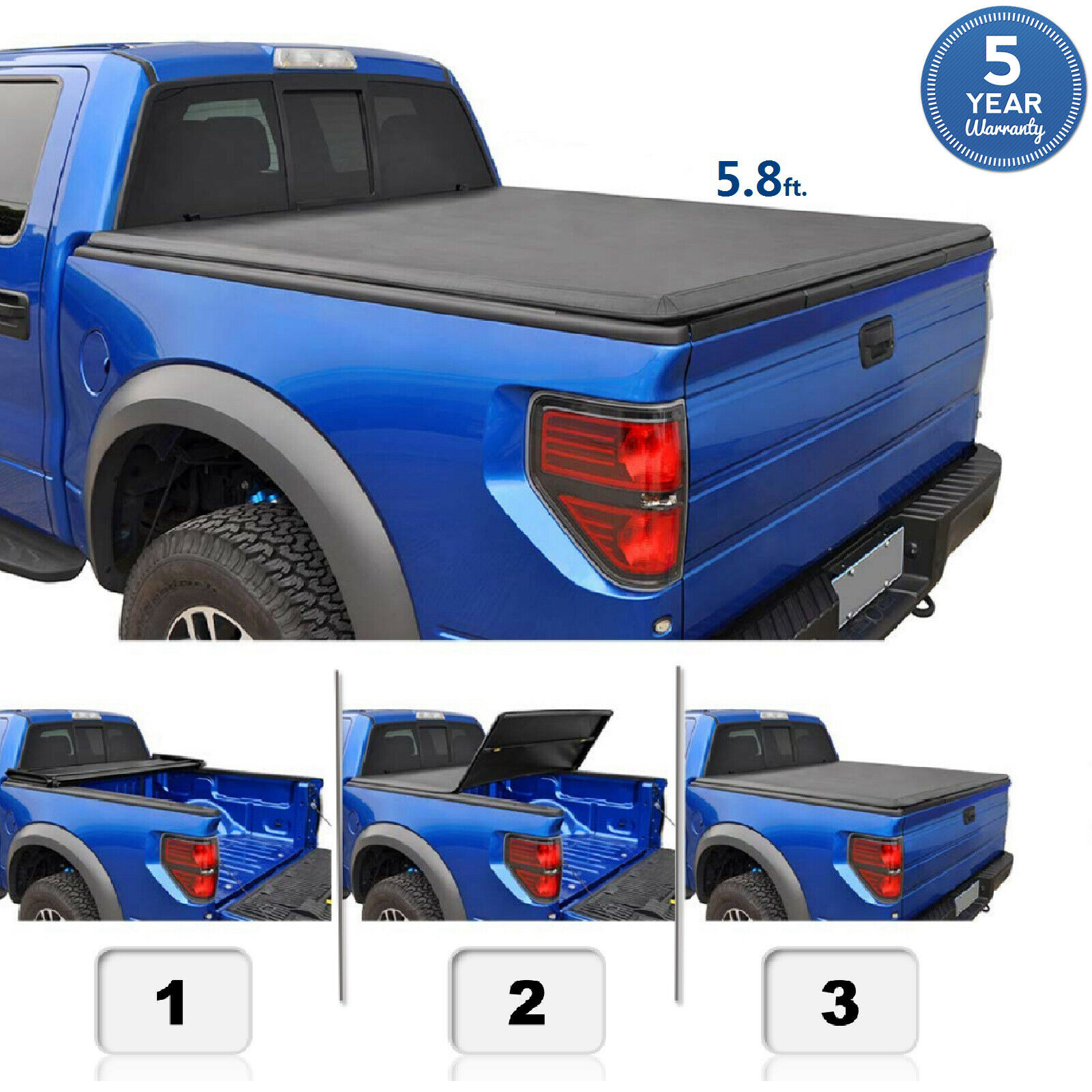 5 8 Ft For 2014 2019 Silverado Sierra 1500 Soft Tri Fold Pickup Truck Bed Cover Ebay