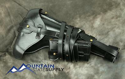 Repro German WWI Long Artillery Luger P-08 P08 Black Leather Holster & Mag Pouch