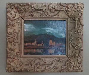 Stunning-Vtg-O-B-Sgnd-Impressionist-Village-Water-Scene-in-Old-Gesso-Frame