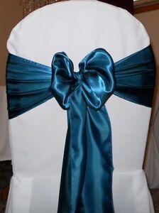 Image is loading 100-Dark-Teal-Sain-Chair-Sashes-Bows-6- & 100 Dark Teal Sain Chair Sashes Bows 6
