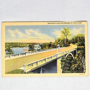 Mississippi-River-Bridges-St-Paul-MN-Vintage-Curteich-Linen-Postcard-Unposted
