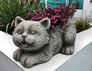 Cat stone effect plant holder and garden ornament statue plant image is loading cat stone effect plant holder and garden ornament workwithnaturefo