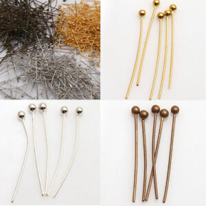 100PCS-16-20-30-40-50mm-Ball-Gold-Plated-Pins-Jewelry-Silver-Finding-Head