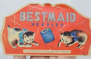Vintage-Paper-Needle-Case-Bestmaid-with-Kittens-and-Thread-Spool