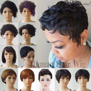 100 Brazilian Human Hair Short Pixie Wigs Straight Curly Wavy For Women Wig Hks Ebay