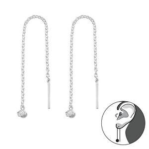 Genuine 925 Sterling Silver Cross Thread Threader Earrings Chain Bar Mid Length