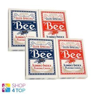4-DECKS-BEE-BIENEN-JUMBO-INDEX-SPIELKARTEN-2-ROT-2-BLAU-POKER-USPCC-NEU