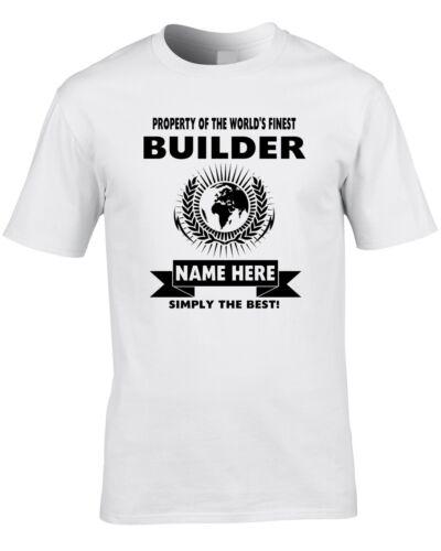 Builder Custom Men/'s T-Shirt World Best Job Work Building Firm Funny Gift Name