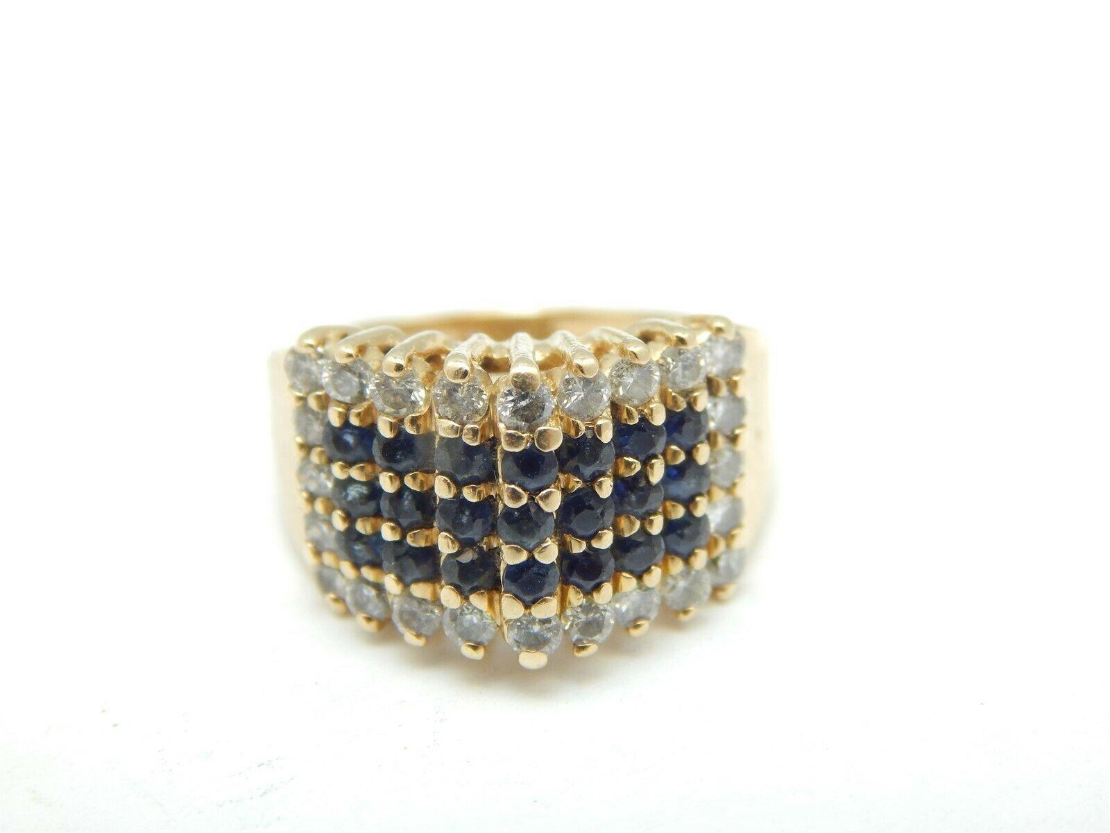 14K YELLOW gold 1 TCW SAPPHIRES & DIAMOND PYRAMID RING SIZE 3.75