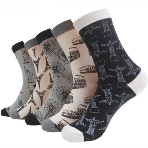 5 Pairs Mens Combed Cotton Socks Lot Famous Building Design Casual Dress Socks