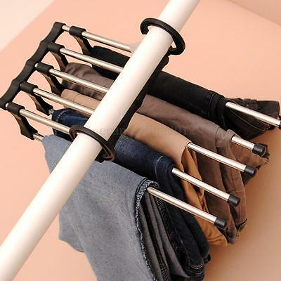 5 in 1 Shirt Trousers Pants Jeans Scarf Coat Hanger Hook Clothes Rack Organizer