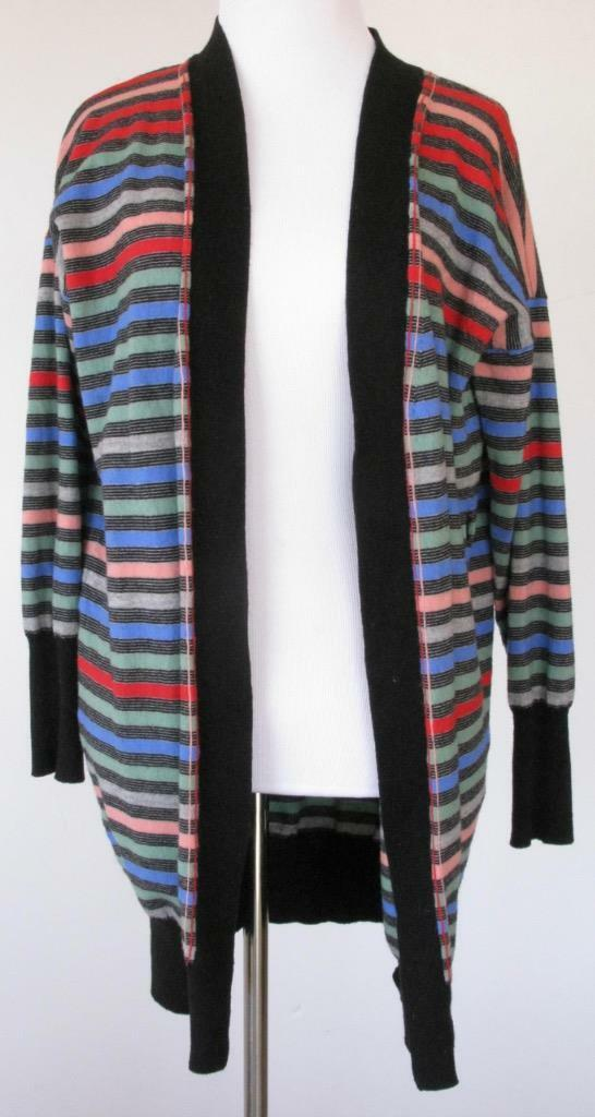 PAUL SMITH Yellow Label Multi color Wool Striped Cardigan Sweater 3 4 Sleeves M
