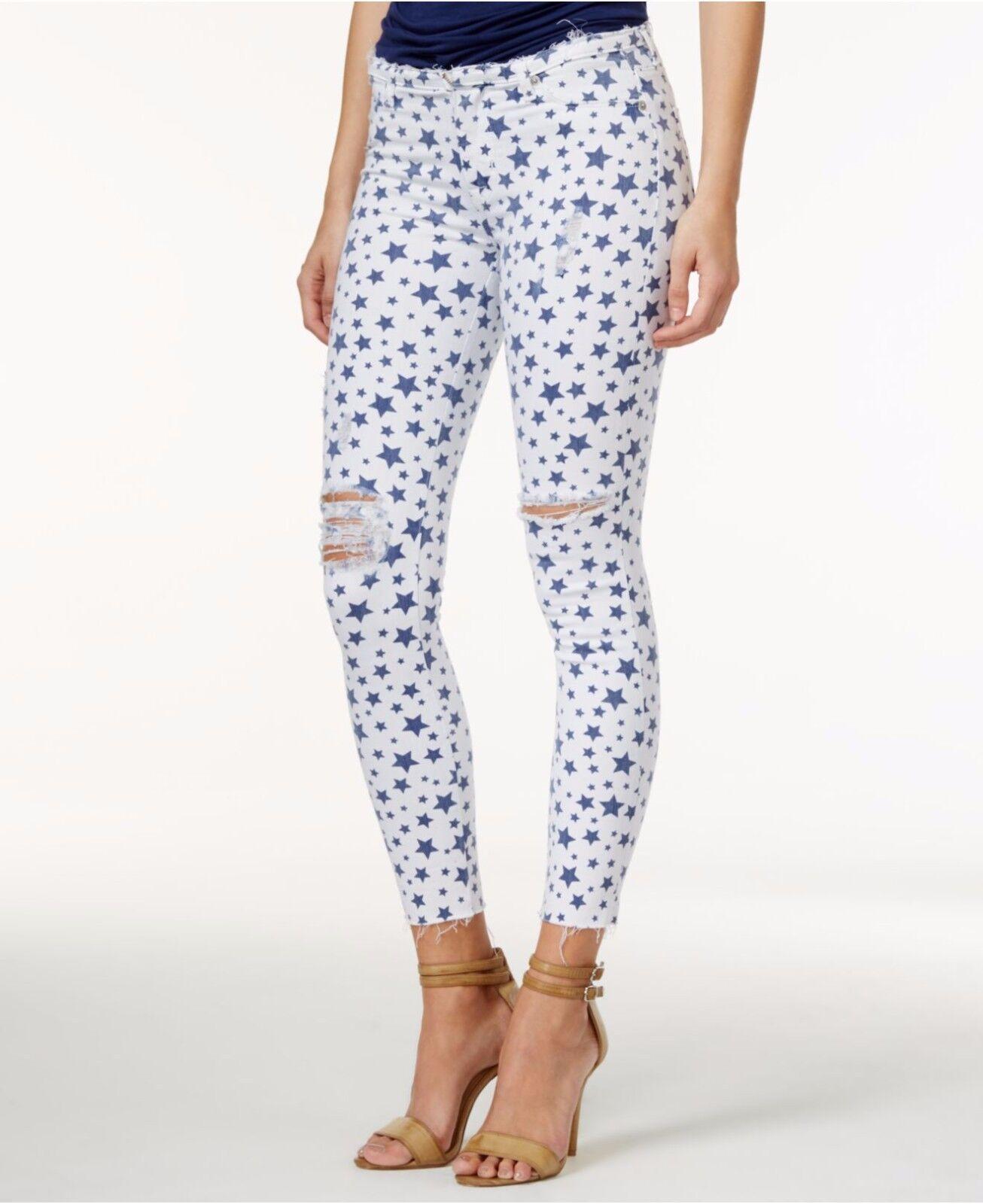 Hudson Jeans Crop Krista Glimmer Star-Print Super Skinny Ankle Jeans Size 28