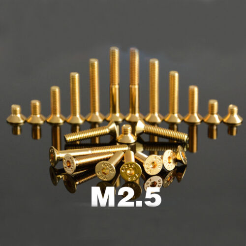M2 M2.5 Titanium Plating Gold Allen Screw Countersunk Head Hexagonal Bolts