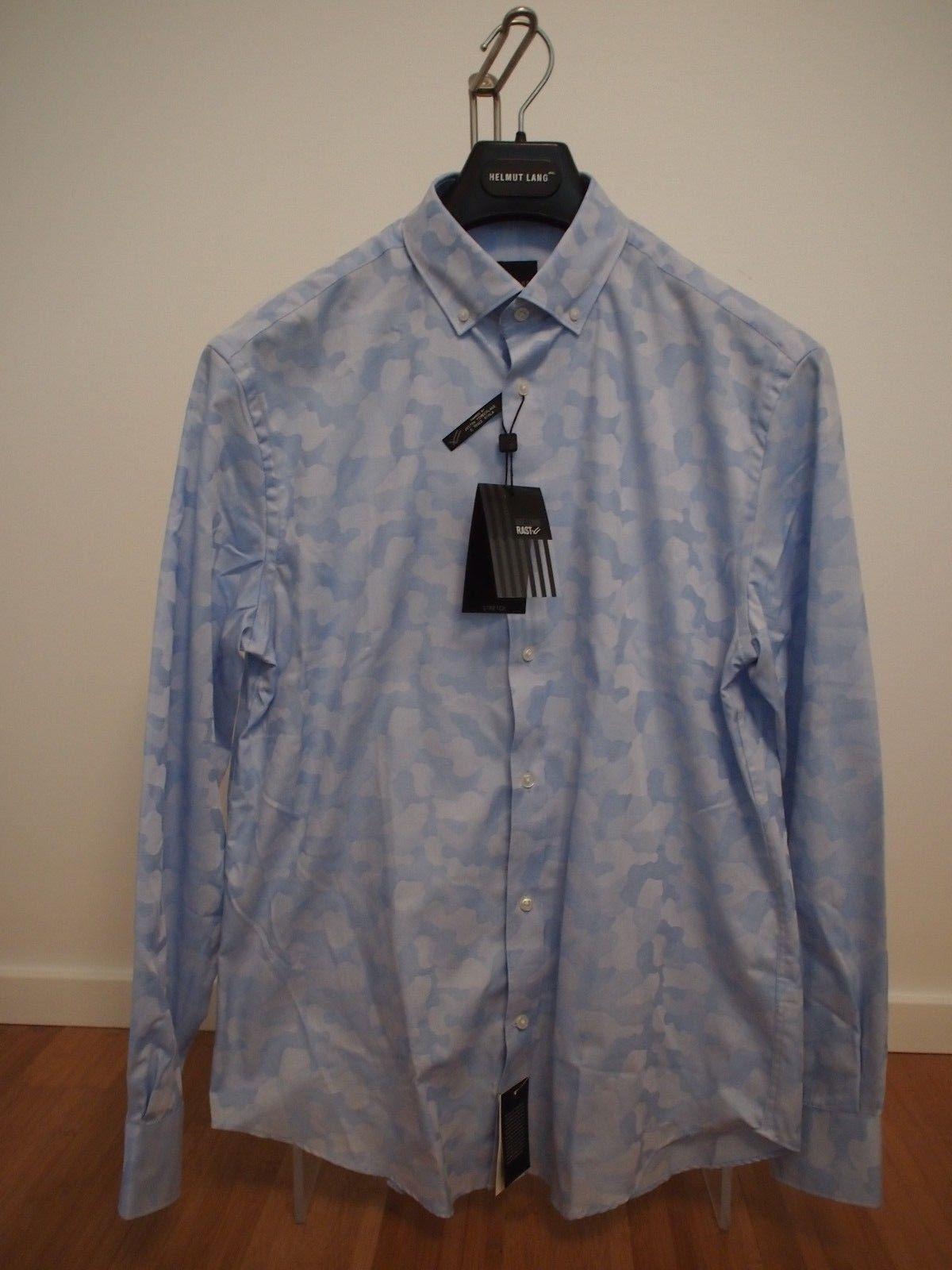 NWT New WILLIAM RAST Blau Camo  Herren Long Sleeve Button Front Shirt Sz M 15/32