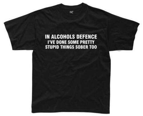 IN ALCOHOLS DEFENCE Mens T-Shirt S-3XL Black Funny Printed Joke Slogan Beer Top