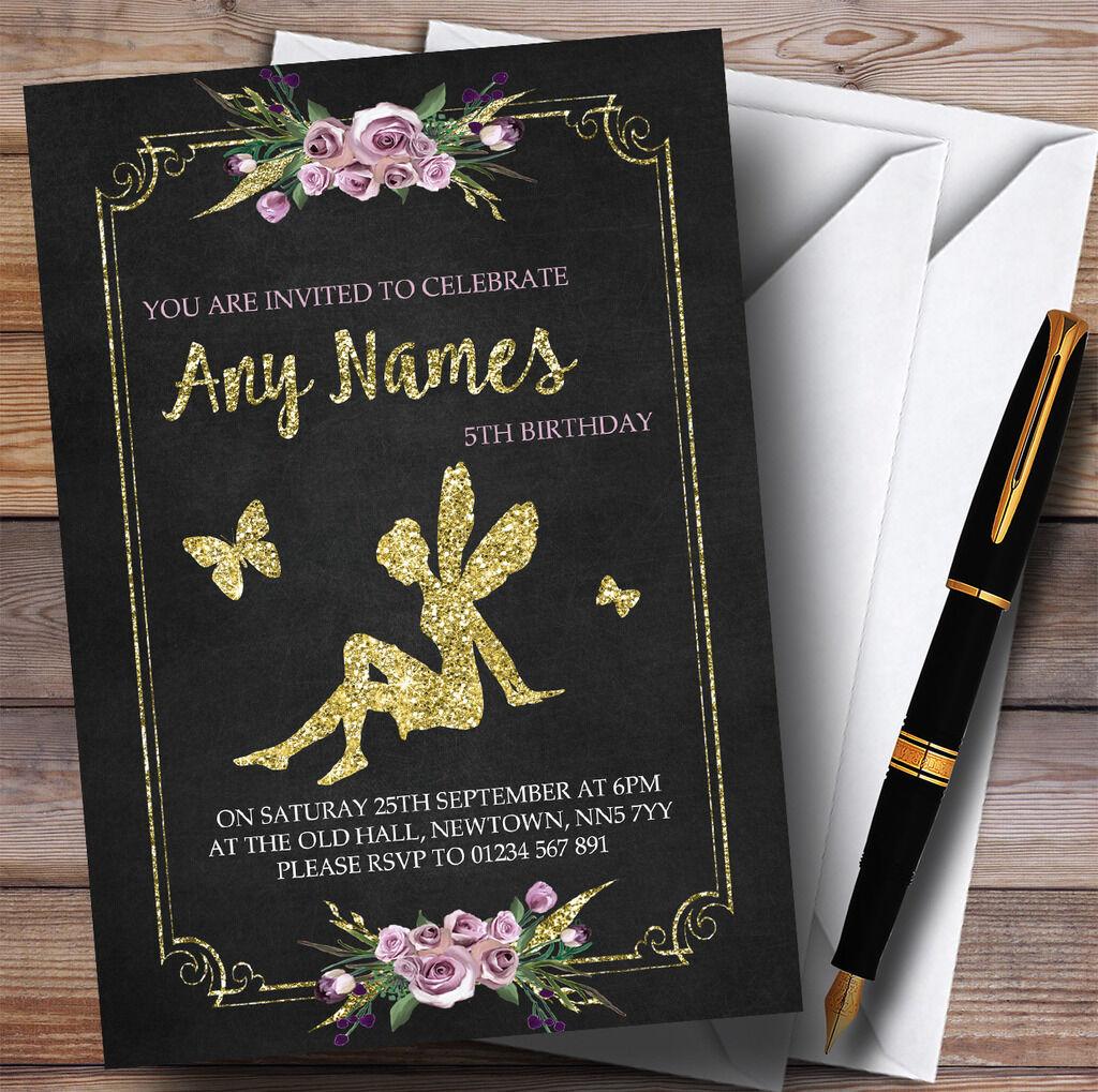 Craie Craie Craie & Fairy Floral or Childrens Birthday Party Invitations bc4452