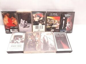 Lot of 9 classic rock cassette tapes Led Zeppelin Pearl Jam The Who H2O Used