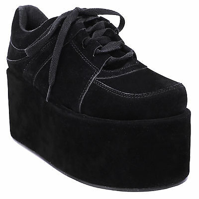 LADIES WOMENS GOTH PUNK CHUNKY WEDGE HIGH PLATFORM FLATFORM CREEPERS SHOES SIZE