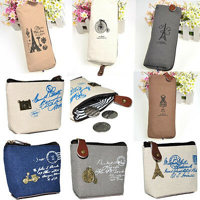 Retro Canvas Cosmetic Makeup Coin Holder Bag Pen Pencil Case Pouch Wallet Purse