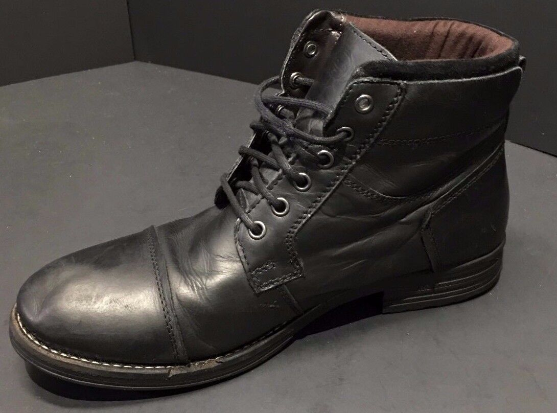 Base London Mens Black Leather Ankle Boots Size