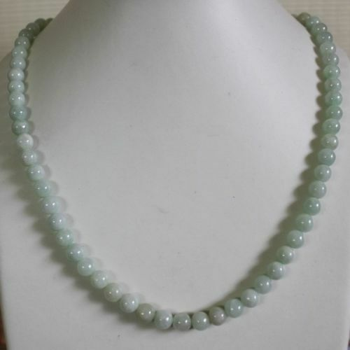 8mm Certified Natural Untreated Light Green Jadeite Jade Round Beads Necklace20/""