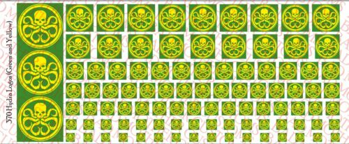 1//18 Scale Decals Waterslide Decals Hydra Yellow and Green logos