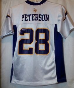 best loved 0ceb8 c97a3 Details about NFL Team Adrian Peterson Minnesota Vikings #28 Jersey Youth  Medium 10-12 White