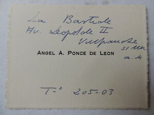 Image Is Loading CARTE DE VISITE Angel A Ponce De Leon