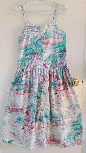 Vintage Eileen West Tropical Pattern Sun Dress 100