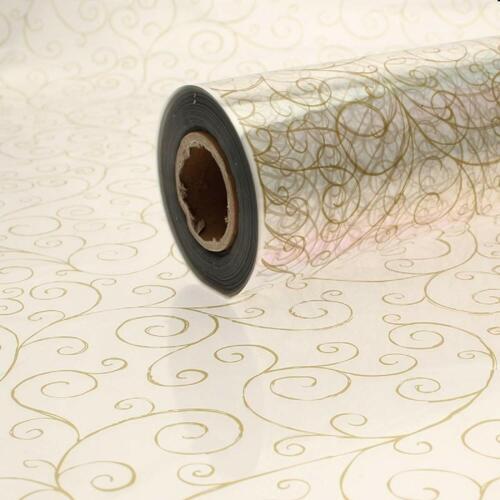 80cm GOLD SCROLL SWIRL Cellophane Film Clear Flower Gift Hamper Wrap 1m to 100m
