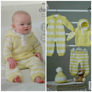 a62c41f02623 Baby KNITTING PATTERN Easy Knit Hoodie AllInOne Pants Hat Chunky ...