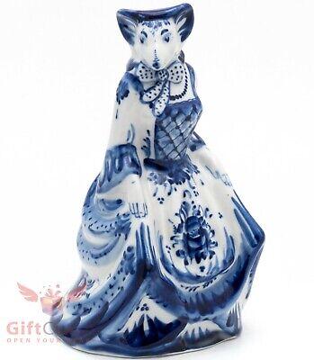 Gzhel mouse Rat porcelain figurine souvenir handmade Гжель Symbol 2020 Year
