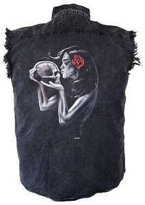 cf1dc94575c45 Details about Mens Acid Washed Sugar Skull Lady Denim Sleeveless Cutoff  Biker Shirt