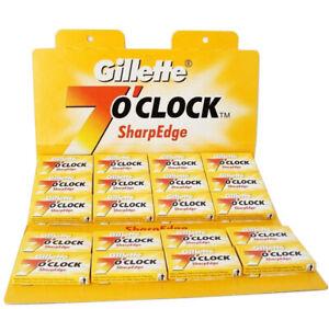 DOUBLE-EDGE-STRAIGHT-CUT-THROAT-BARBER-RAZOR-SHAVING-BLADES-GILLETTE-7-O-039-CLOCK