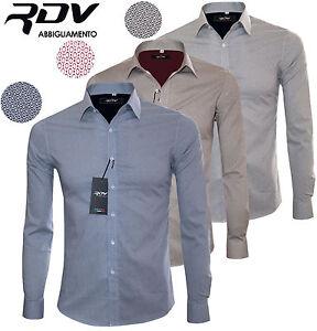 Camicia-uomo-slim-fit-S-M-L-XL-XXL-Sartoriale-manica-lunga-cotone-RDV