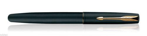 Parker Frontier Matte Black GT Gold Trim Roller Ball Pen Blue Ink New