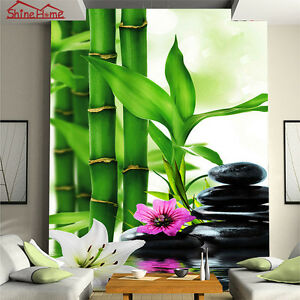 Image is loading Cool-SPA-Massage-Bamboo-Stone-Wallpaper-Mural-Rolls-