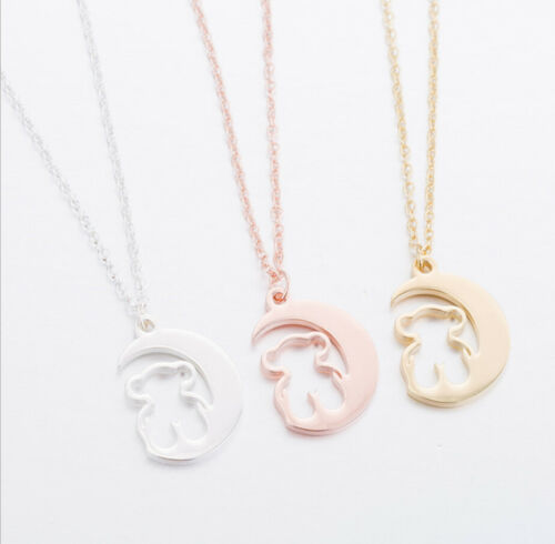 1pc Stainless Steel Moon Design  Bear Pendant Chain Necklace Pretty Women Gift