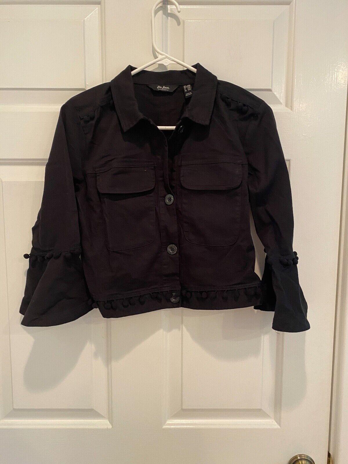 DU JOUR Cropped Twill Jacket w/ Pom Pom Trim BLACK size XXXS