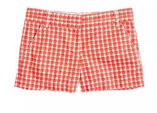 Pattern Crisp 4 Shorts Red Summer Nwt Crew Cotton Apple Popeline J H6Uq4U