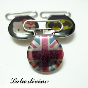 1-Pince-bretelle-Attache-tetine-amp-doudou-metal-drapeau-London-Londres