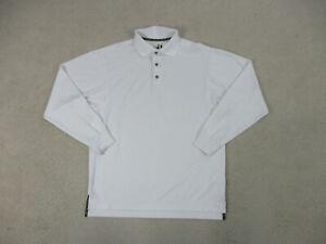 Footjoy-Polo-Shirt-Adult-Medium-White-Black-Golfer-Casual-Long-Sleeve-Mens-B59